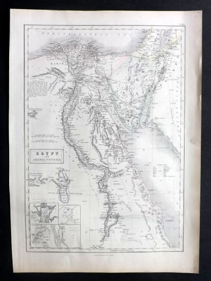 A & C Black 1854 Antique Map. Egypt and Arabia Petraea